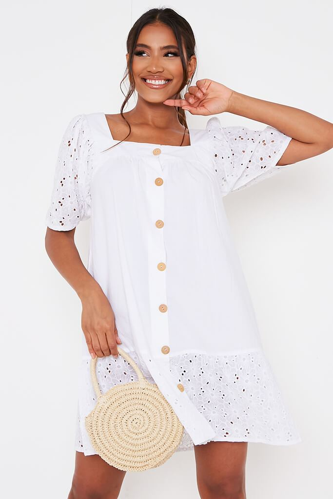 White Cotton Broderie Button Square Neck Smock Dress