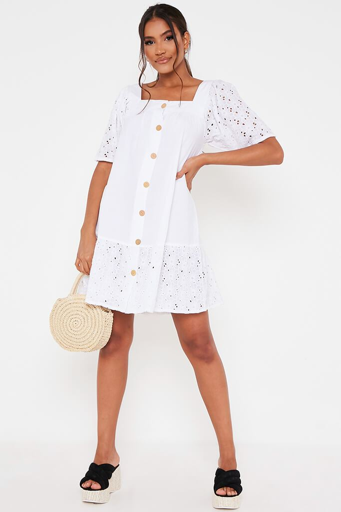 White Cotton Broderie Button Square Neck Smock Dress view 2