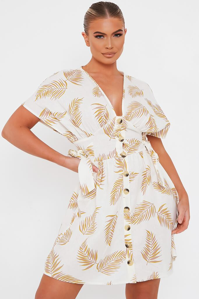 Cream Palm Print Cotton Button Through Plunge Skater Dress