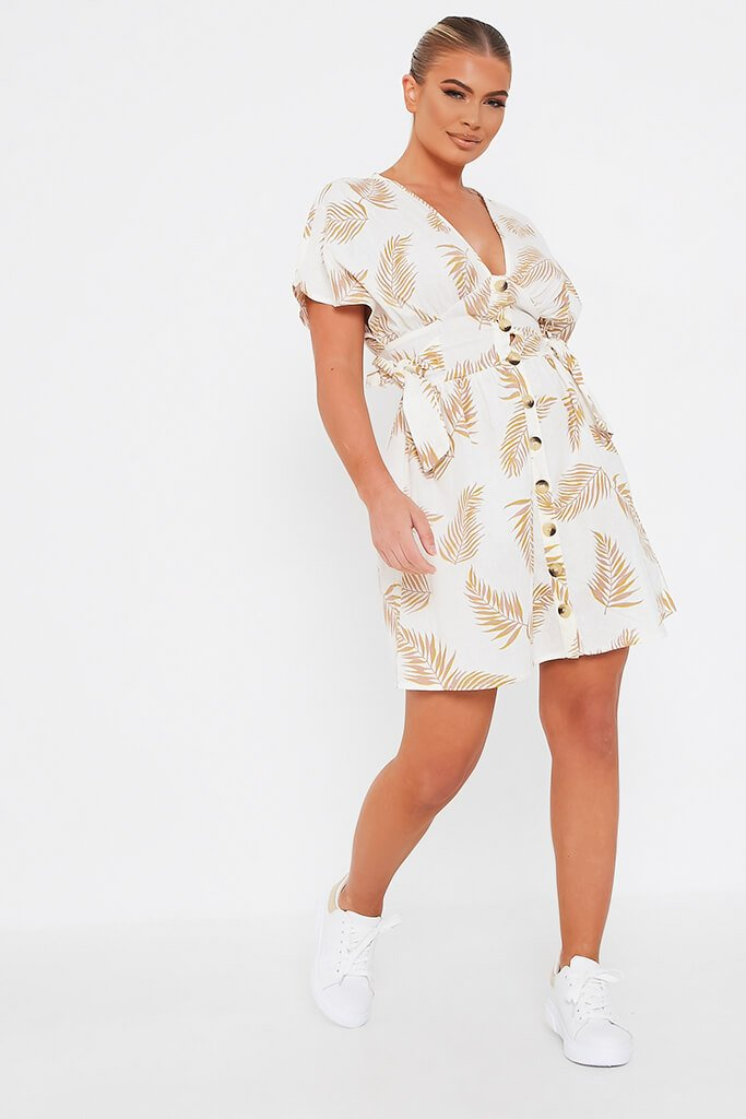 Cream Palm Print Cotton Button Through Plunge Skater Dress view 2