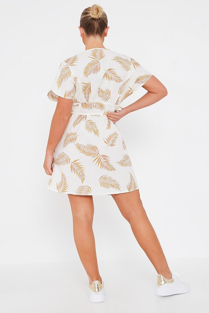 Cream Palm Print Cotton Button Through Plunge Skater Dress view 5