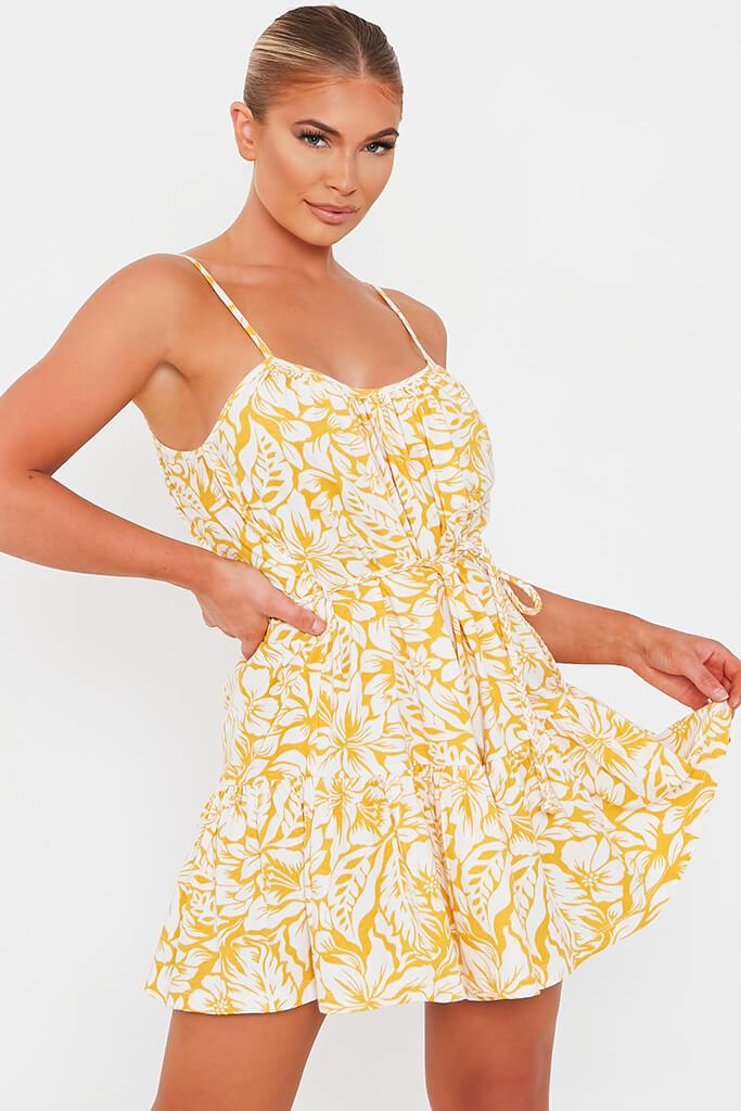 Yellow Floral Tie Waist Skater Dress