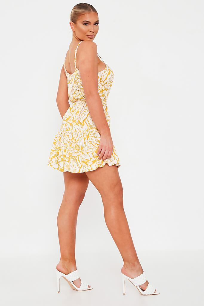 Yellow Floral Tie Waist Skater Dress view 3