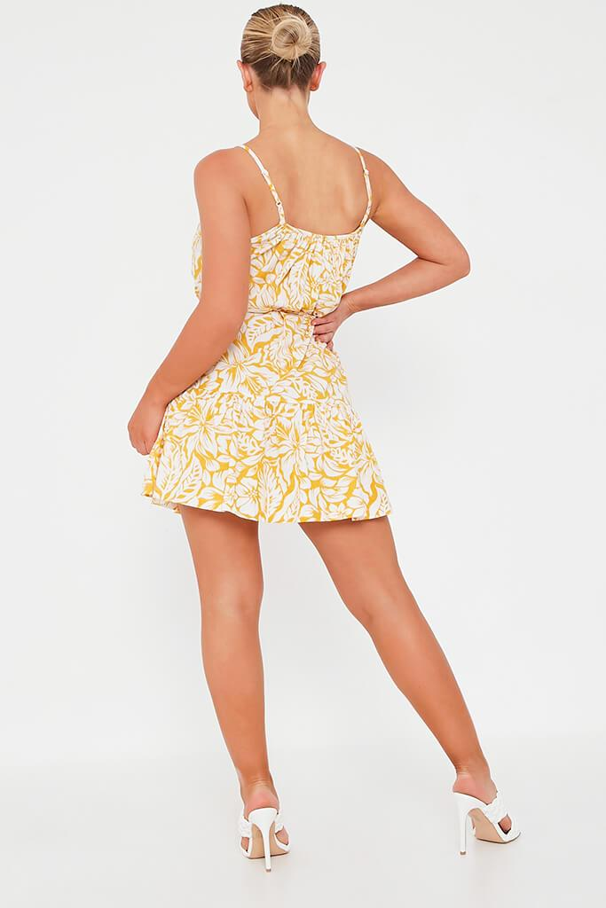 Yellow Floral Tie Waist Skater Dress view 5