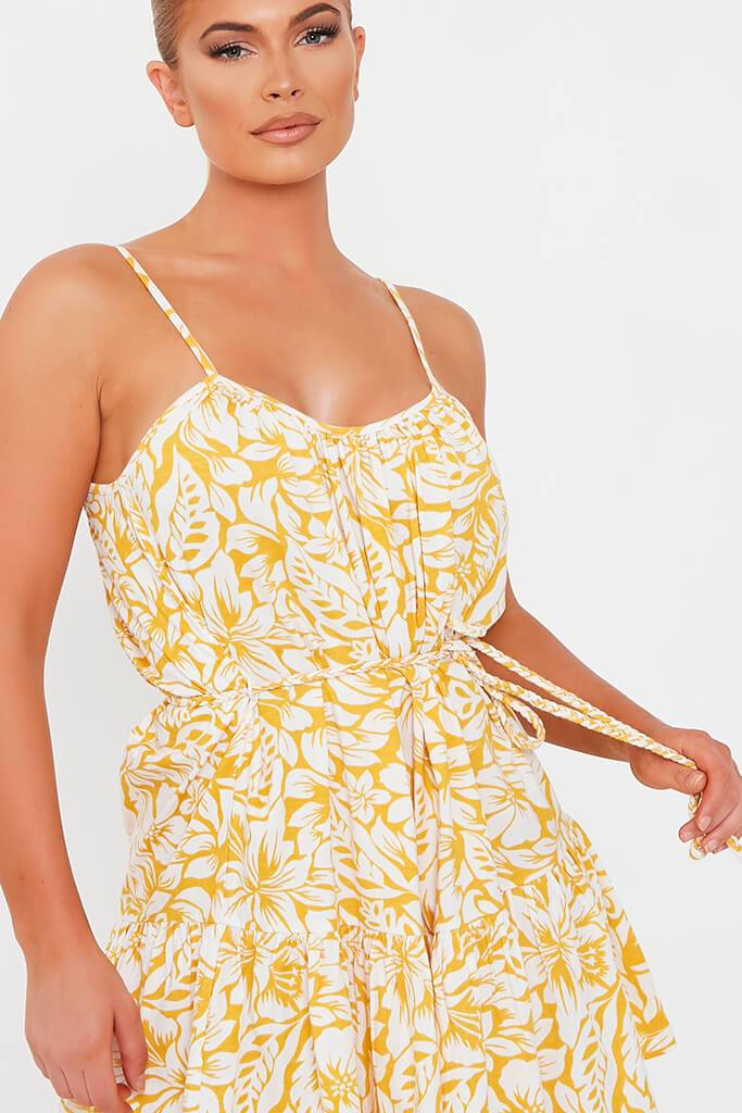 Yellow Floral Tie Waist Skater Dress view 4