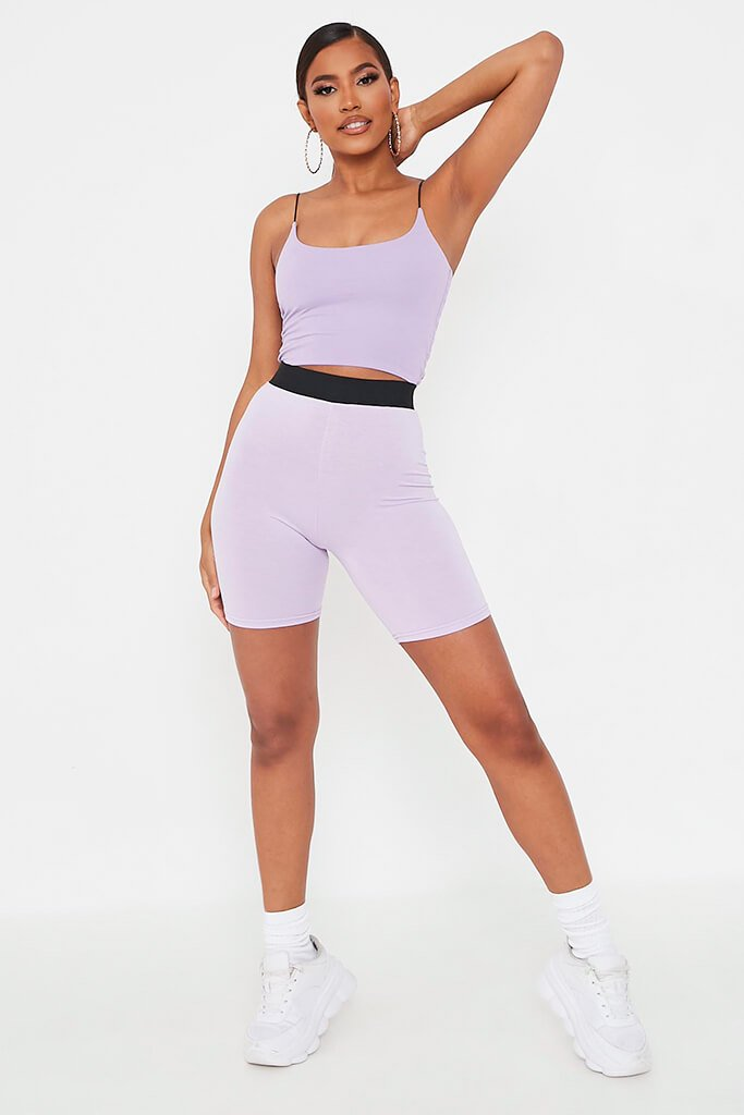 Lilac Elasticated Waist Cycling Short view 2