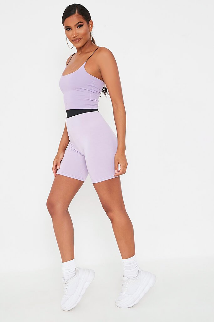 Lilac Elasticated Waist Cycling Short view 3