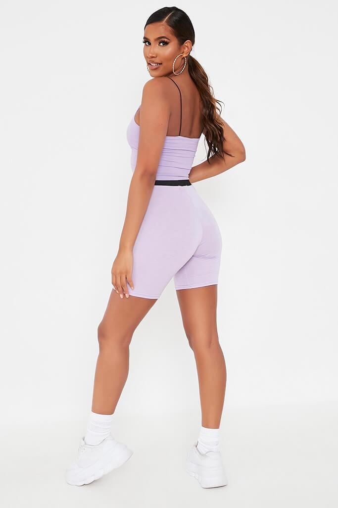 Lilac Elasticated Waist Cycling Short view 5