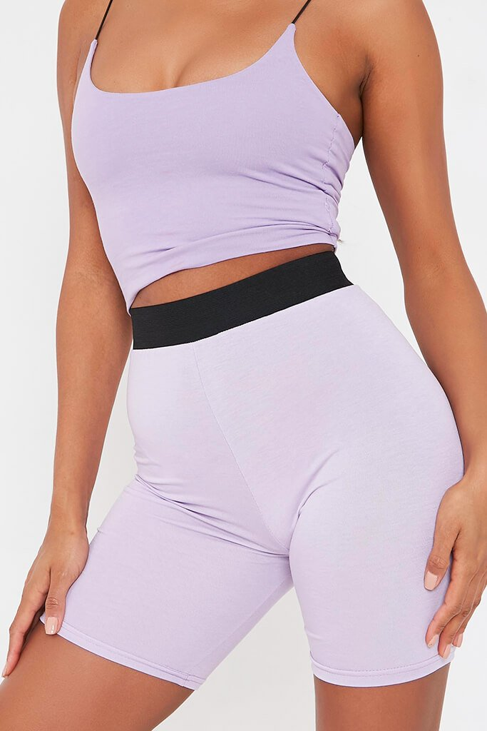 Lilac Elasticated Waist Cycling Short view 4