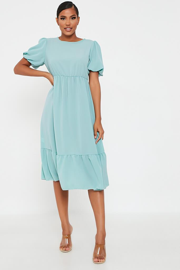 Mint Green Woven Puff Ball Smock Midi Dress view main view