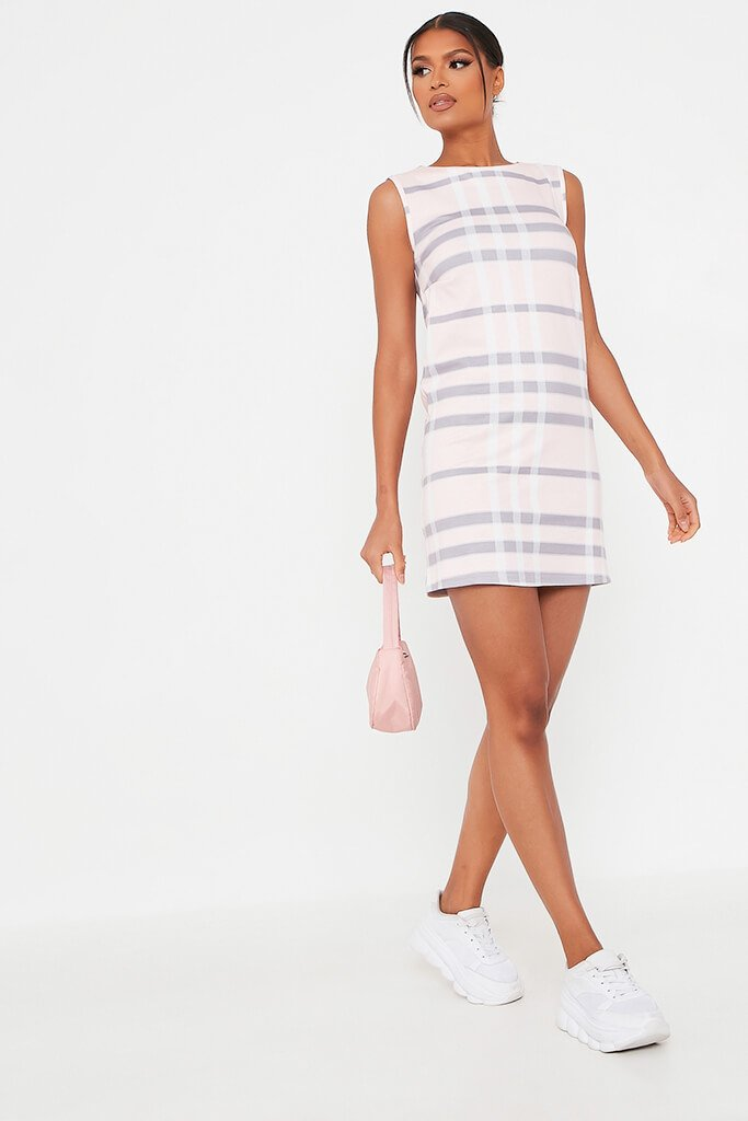 Pink Check Print High Neck Shift Dress view 2