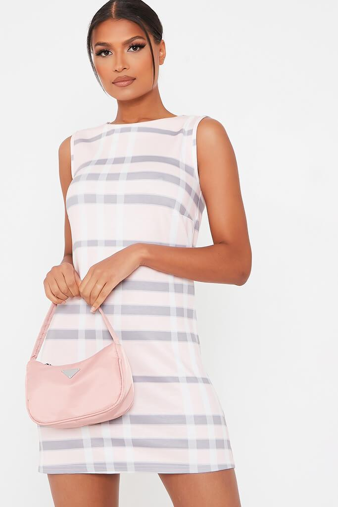 Pink Check Print High Neck Shift Dress