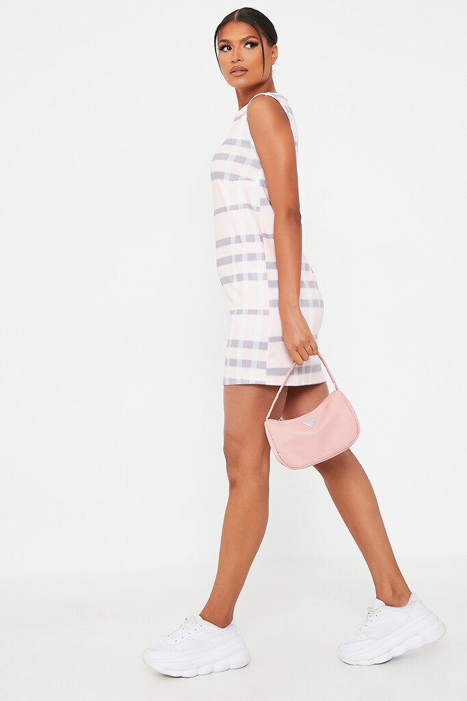 Pink Check Print High Neck Shift Dress view 3
