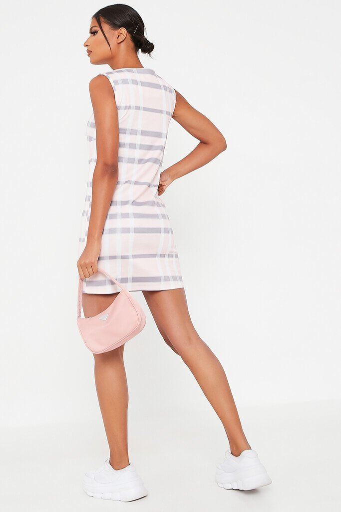 Pink Check Print High Neck Shift Dress view 5