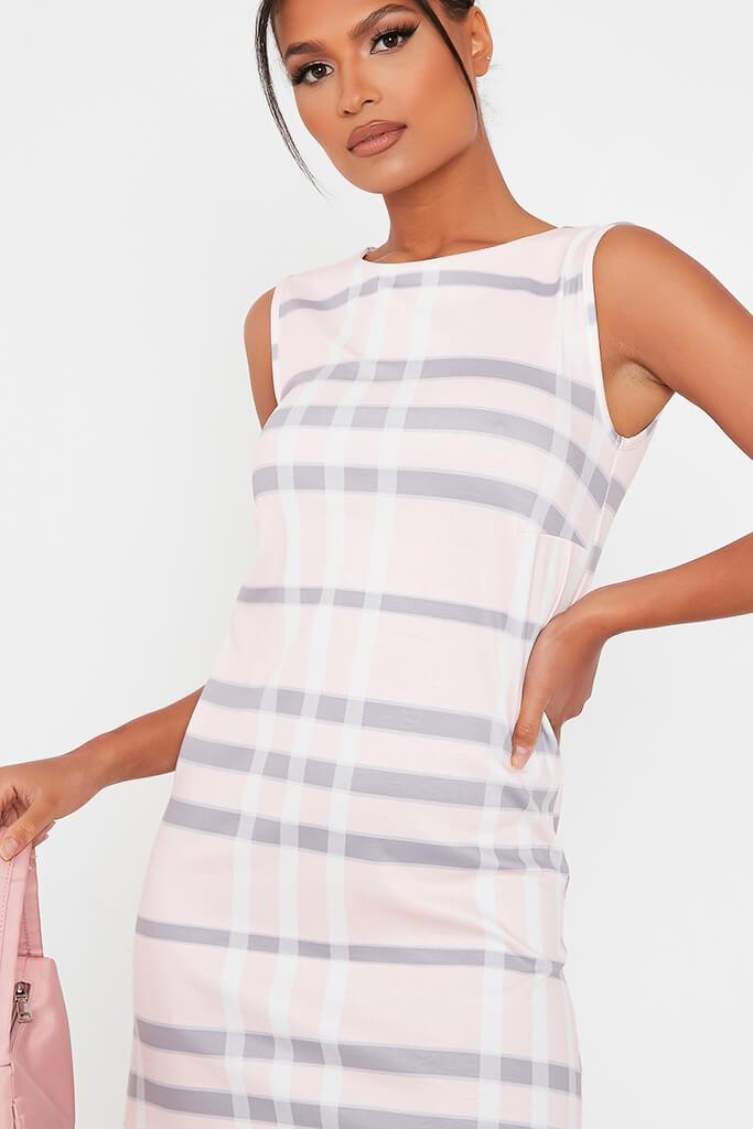 Pink Check Print High Neck Shift Dress view 4