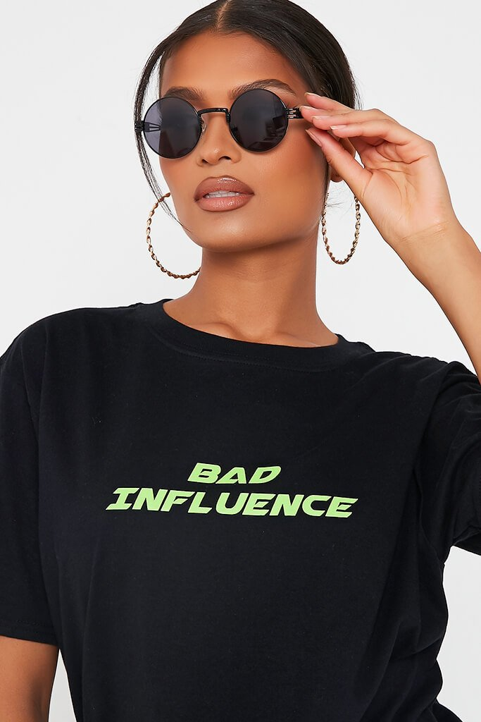 Black Bad Influence Oversized T-Shirt view 4