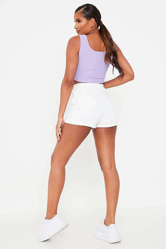 Lilac Crinkle Cotton Crop Top view 5