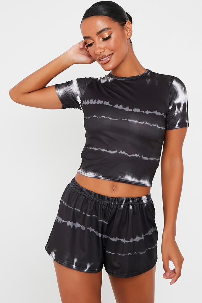 Black Tie Dye Fitted Cotton Crop T-Shirt
