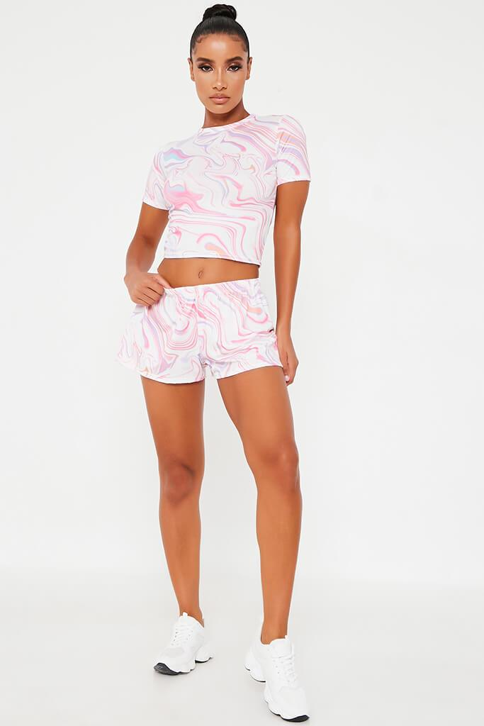 Baby Pink Tie Dye Fitted Cotton Crop T-Shirt view 2
