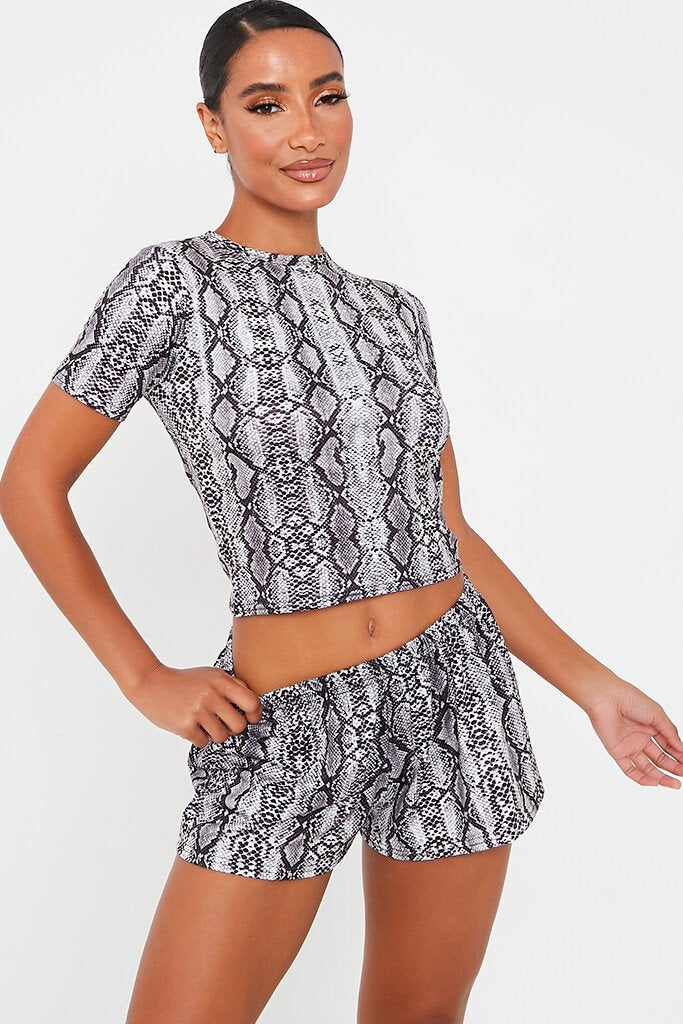 Grey Snake Print Loose Runner Shorts
