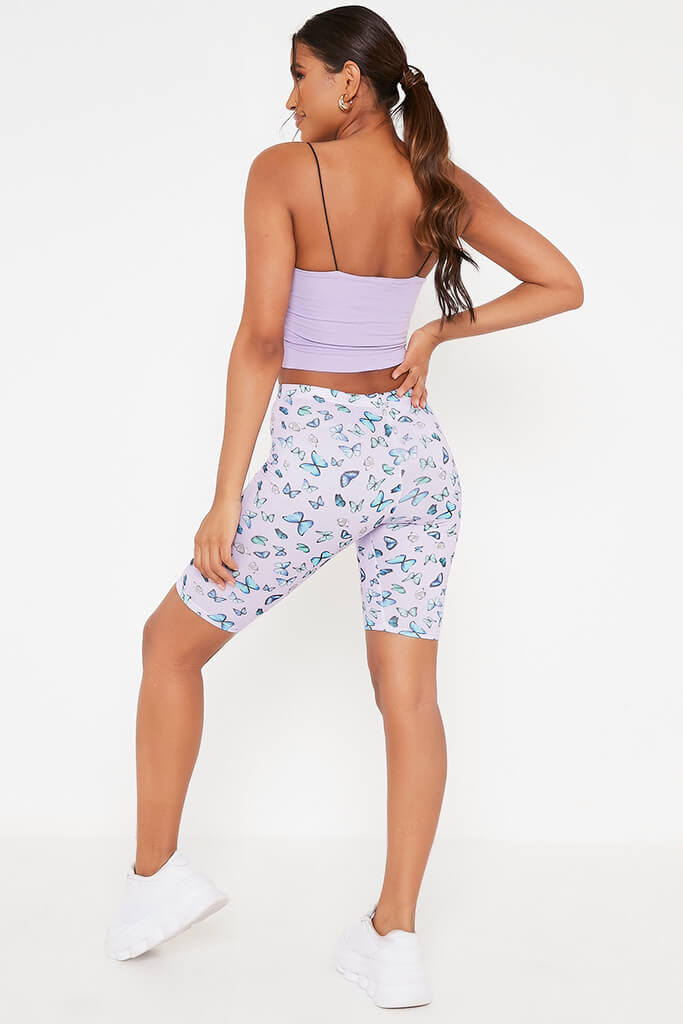 Lilac Butterfly Print Cycling Shorts view 5