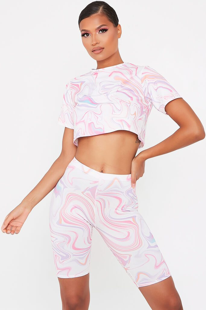 White Marble Tie Dye Roll Sleeve Crop T-Shirt