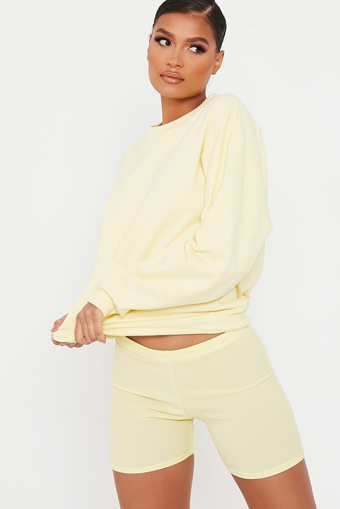 Lemon Rib Crop Cycling Shorts