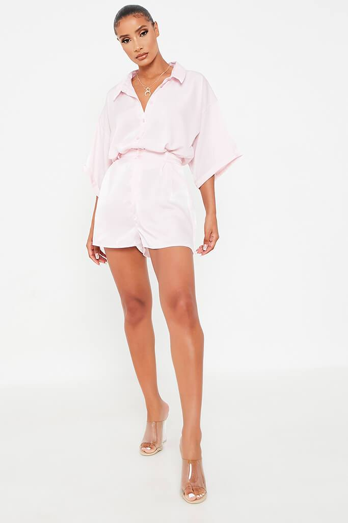 Blush Pink Satin Co-Ord Short view 2