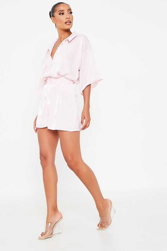 Blush Pink Satin Co-Ord Short view 3