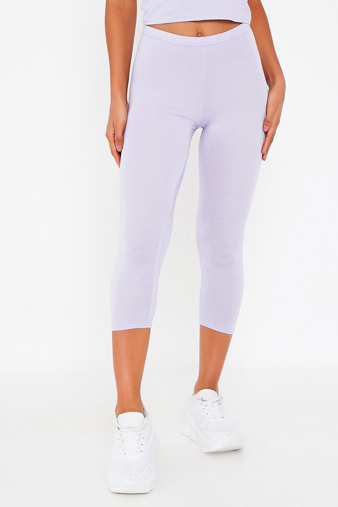Lilac High Waisted Jersey Cropped Leggings