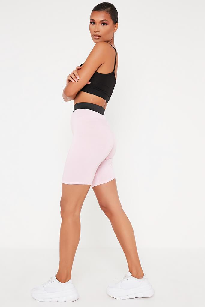 Baby Pink Elasticated Waist Cycling Short view 3