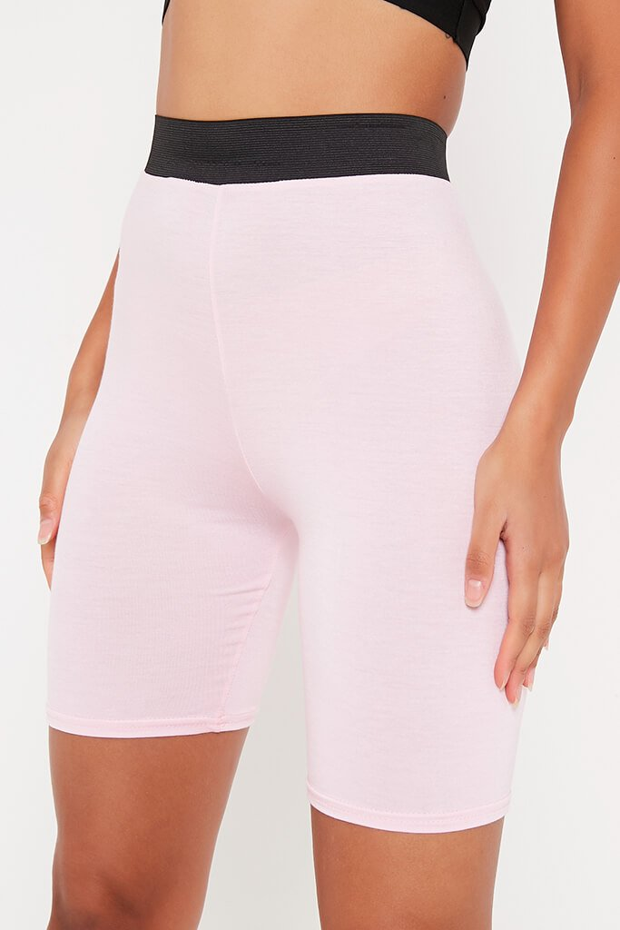 Baby Pink Elasticated Waist Cycling Short view 4