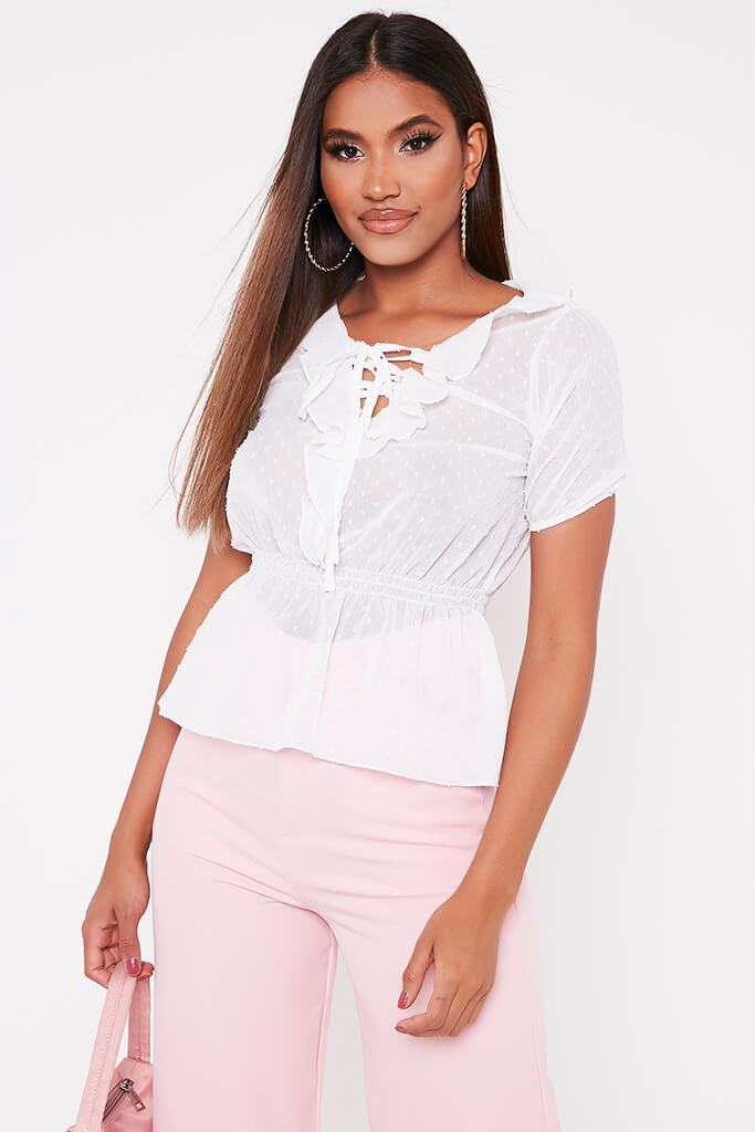 White Dobby Mesh Short Sleeve Peplum Blouse
