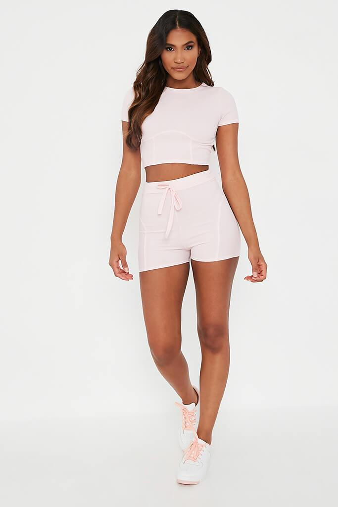 Baby Pink Structured Crop Top With Shorts Set view 2