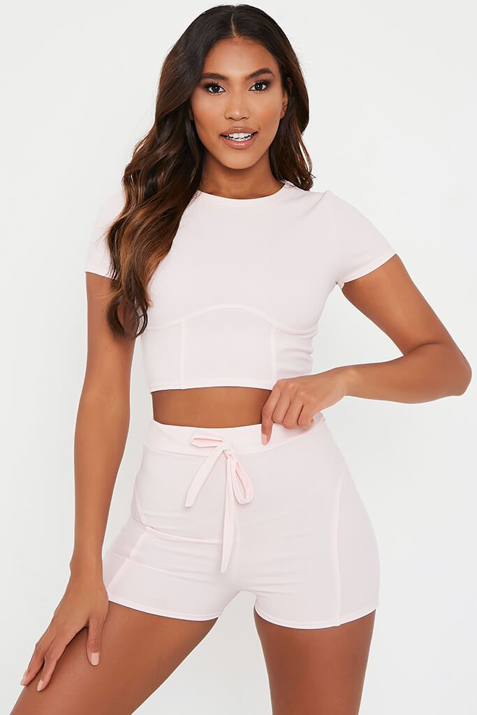 Baby Pink Structured Crop Top With Shorts Set