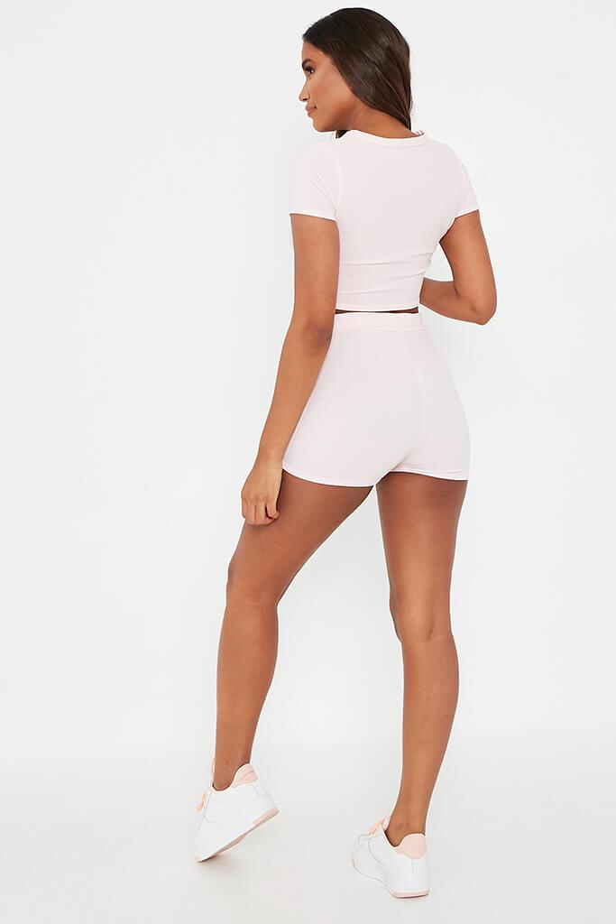 Baby Pink Structured Crop Top With Shorts Set view 5
