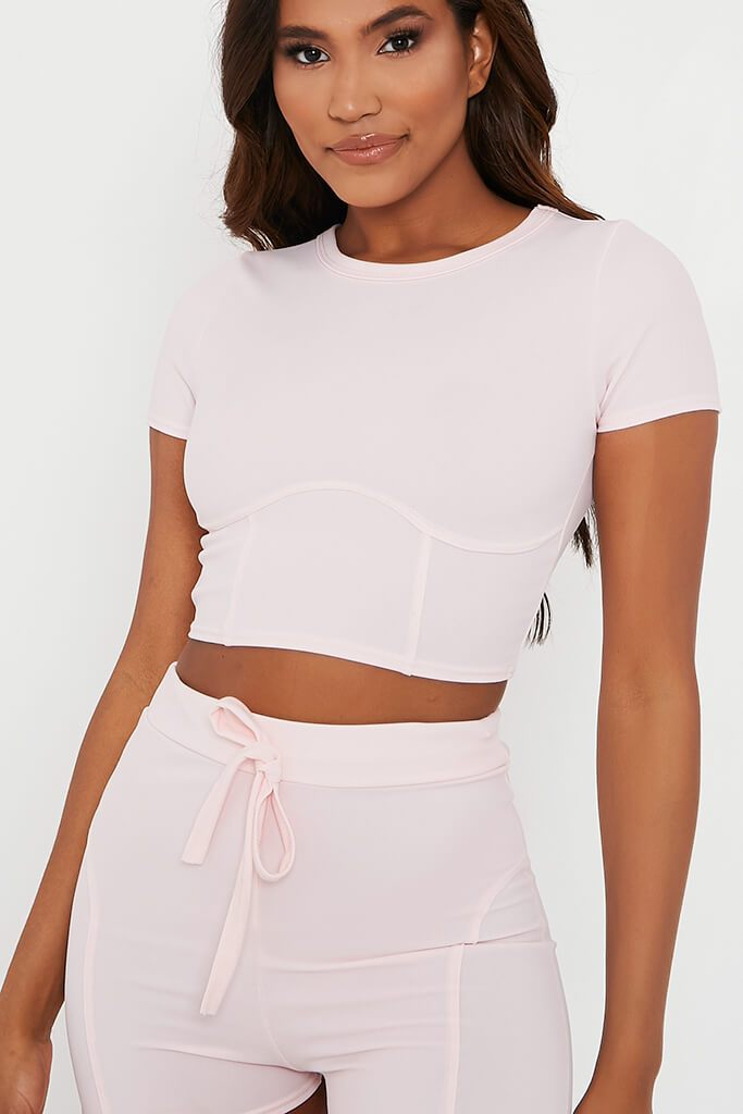 Baby Pink Structured Crop Top With Shorts Set view 4