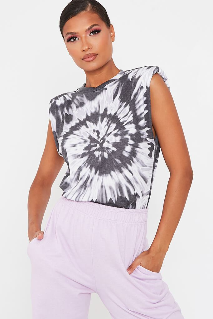 Black Tie Dye Padded Shoulder Oversized T Shirt