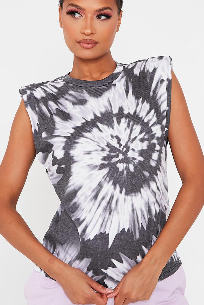 Black Tie Dye Padded Shoulder Oversized T Shirt view 4