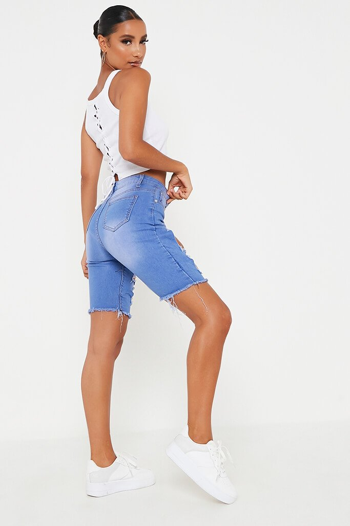 Blue Distressed Denim Cycling Shorts view 3