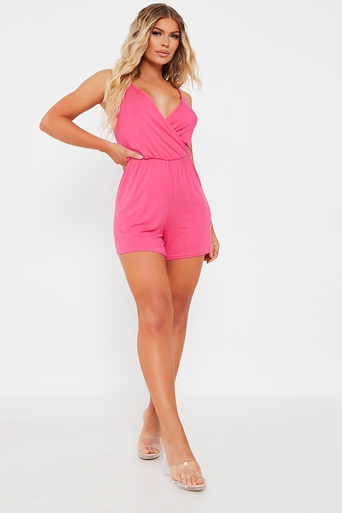 Hot Pink Basic Jersey Cami Playsuit view 2