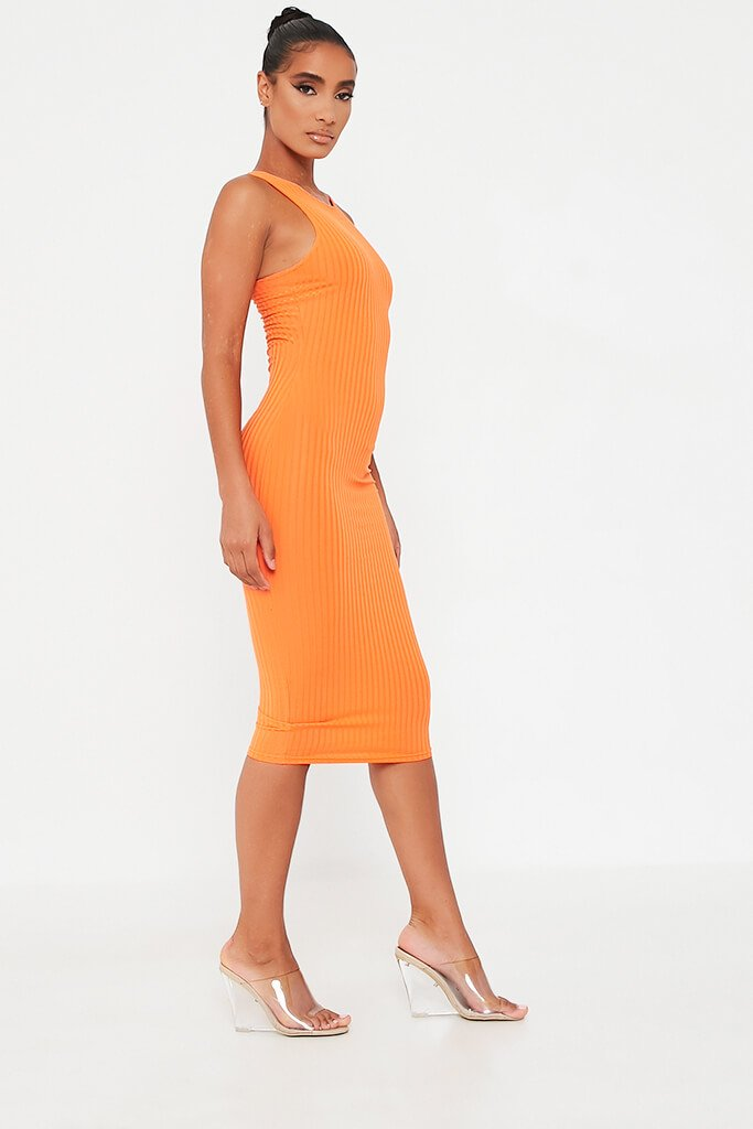 Orange Ribbed Midi Dress view 3