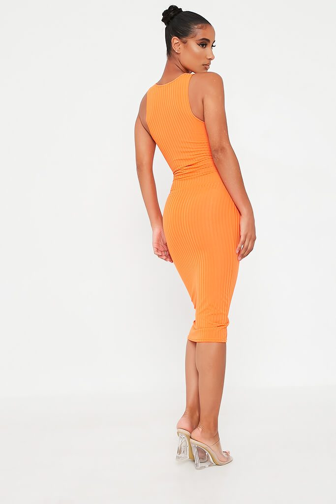 Orange Ribbed Midi Dress view 5
