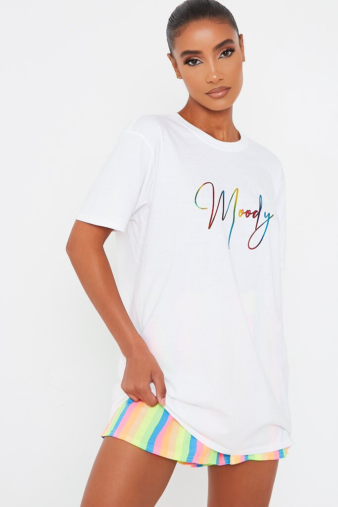 White Rainbow Foil Script Moody Oversized T Shirt view main view