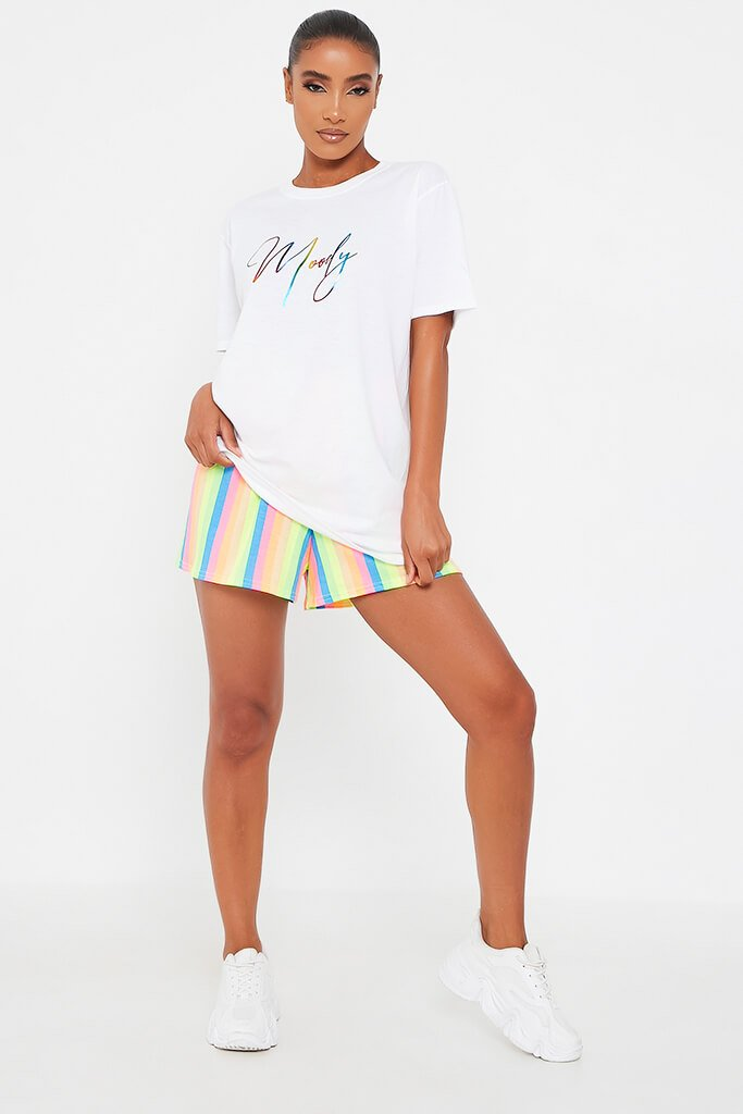 White Rainbow Foil Script Moody Oversized T Shirt view 2