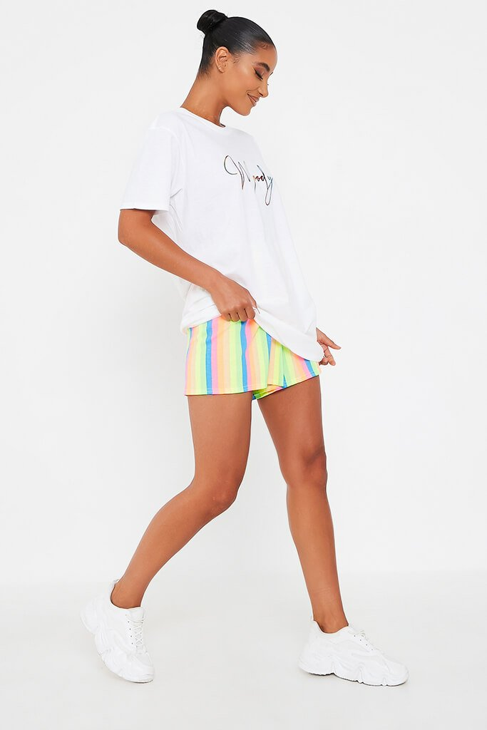 White Rainbow Foil Script Moody Oversized T Shirt view 3