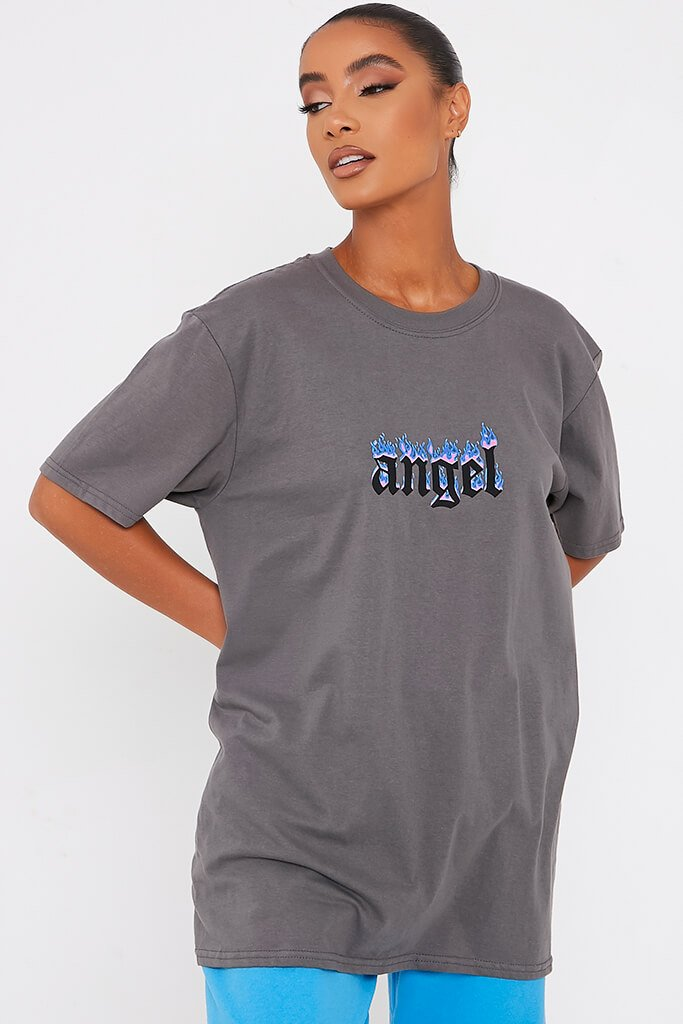 Charcoal Angel Blue Flames Oversized T-Shirt