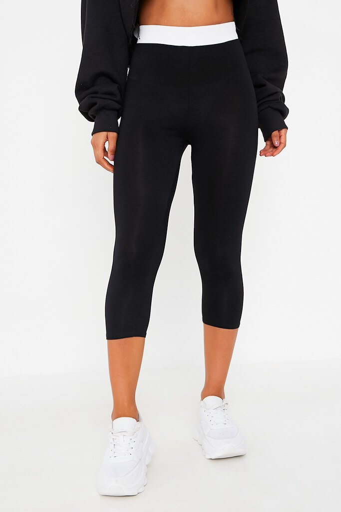 Black Elasticated Waistband Cropped Legging view 2