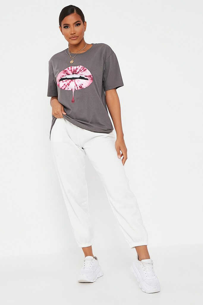 Grey Marl Pink Tie Dye Lips Oversized T Shirt view 2