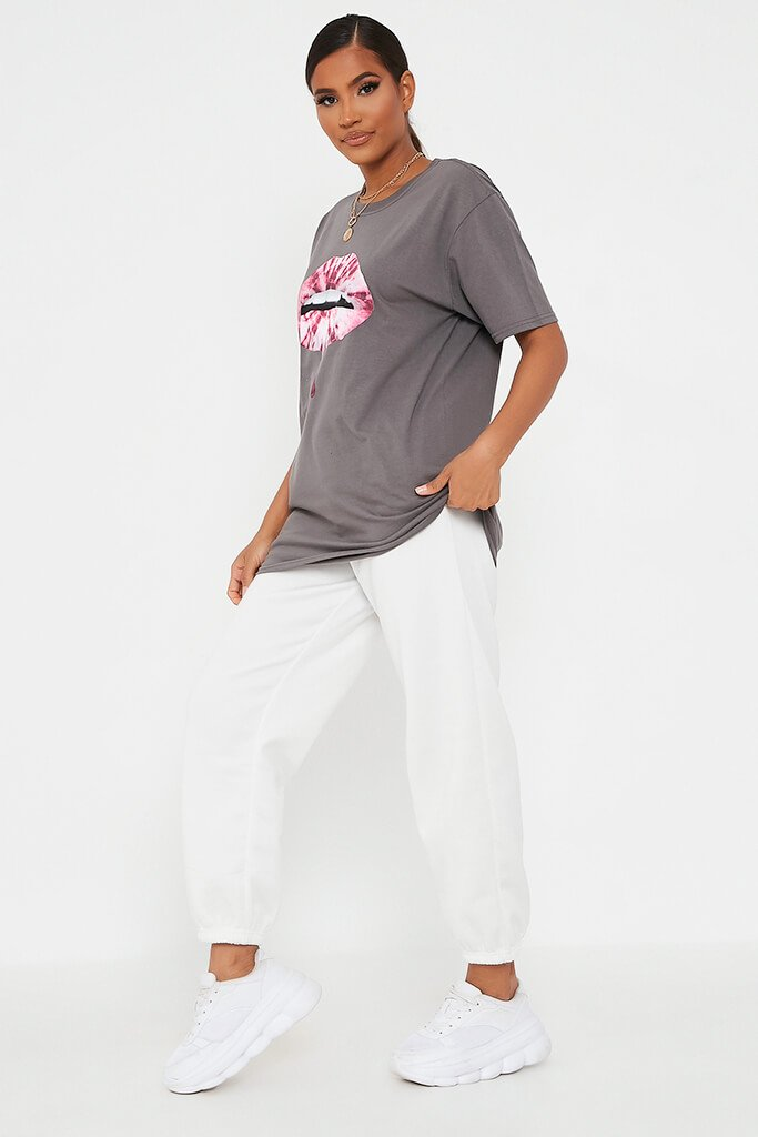 Grey Marl Pink Tie Dye Lips Oversized T Shirt view 3